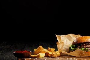 Tempting fast food diner of hamburge