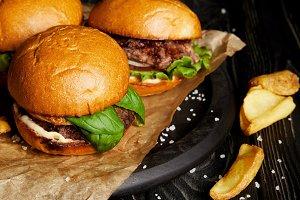 Tempting fast food diner with hambur