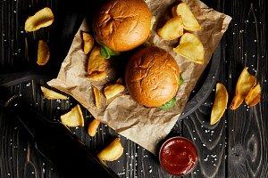 Set of junk food hamburgers and frie