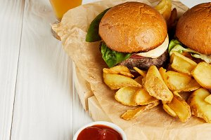 Set of junk food burgers and fries s