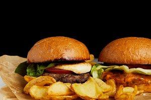 Set of junk food diner with burgers