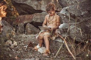 Caveman, manly boy making using