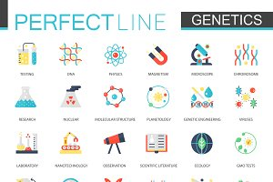 Biochemistry genetics icons.
