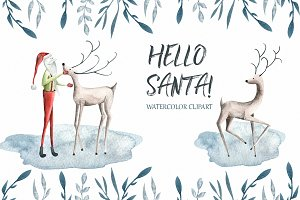 Hello Santa Watercolor clipart