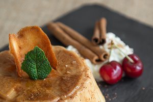 Cinnamon and caramel flan