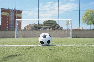 Vintage soccer ball on the penalty p