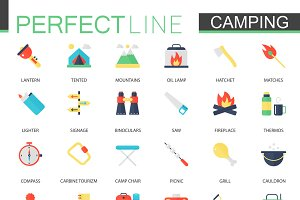 Camping and Hiking icons.