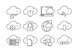 Web cloud services icons. Internet