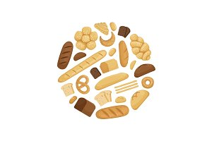 Vector cartoon bakery elements in