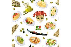 Vector cartoon italian cuisine