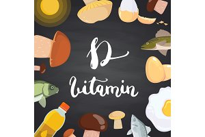 Vector vitamin D elements, mushrooms