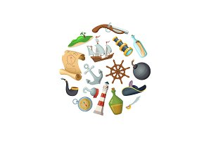 Vector cartoon sea pirates in circle