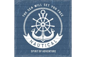Nautical anchor poster. Ocean marina