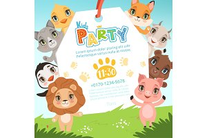 Animals kids invitations. Cute funny