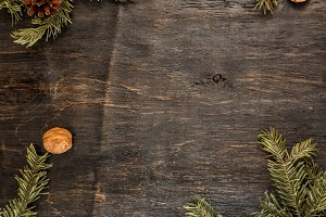 Background with fir branches, pine c