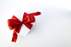 Red Bow Gift Box With space