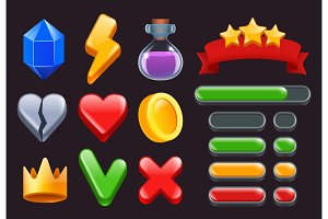 Game ui kit icons. Stars colored