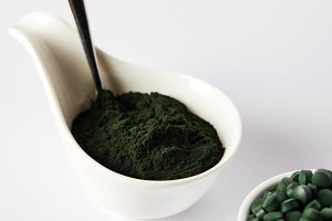 close up view of spoon, spirulina po