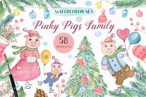 Pinky Pig Family - Christmas Set