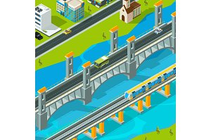 Town bridge landscape. Building