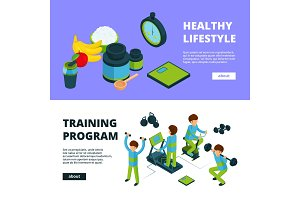 Sport banners isometric. Health