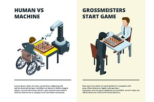 Chess game banners. Gamers playing