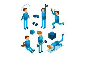 Gym people isometric. Fitness sport