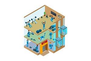 Fitness center interior. Gym sport