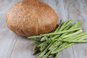 Bread and Fresh Asparagus