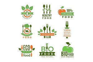 Organic food logo. Eco vegan natural