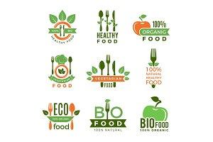 Organic food logo. Eco vegan natural