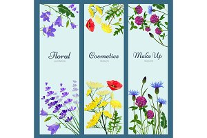 Wildflowers banners. Floral frame