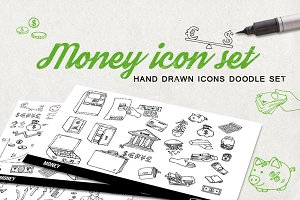 Money hand drawn icons doodle set