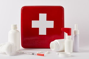 first aid kit box with blank medical