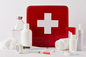 close-up shot of red first aid kit b