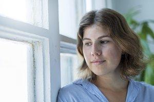 Gorgeous woman face closeup of dream