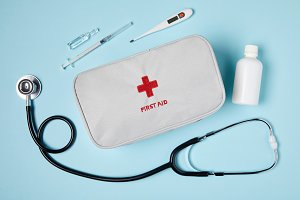 top view of white first aid kit bag