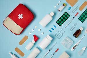 top view of first aid kit bag with c