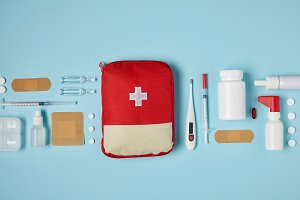 top view of red first aid kit bag on