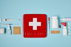 top view of red first aid kit box on