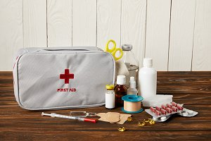 close-up shot of first aid kit with