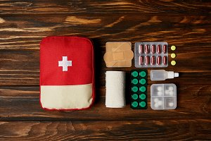 top view of first aid kit composed w