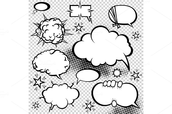 cartoon discuss vector speech bubble ~ Graphic Objects ~ Creative Market