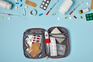 top view of opened first aid kit bag