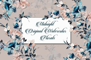 Midnight Watercolor Florals