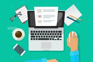Survey Online Form on Laptop Vector