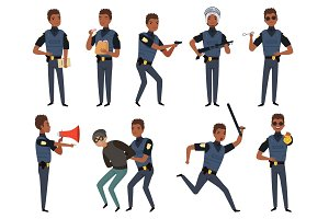 Police characters. Patrol policeman