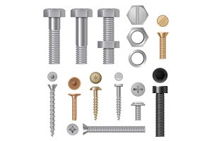 Steel screws bolts. Vise rivets