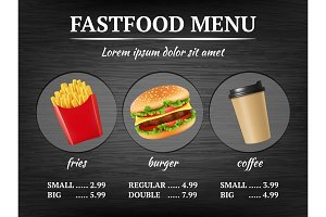 Fast food menu. Burger fries