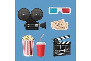 Cinema 3d icons. Movie camcorder
